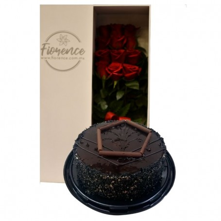 Deluxe Roses Box and Gourmet Cake