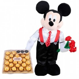 In love Mickey Mouse with chocolates