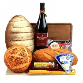 Large Board Of Cheese, Bread And Wine